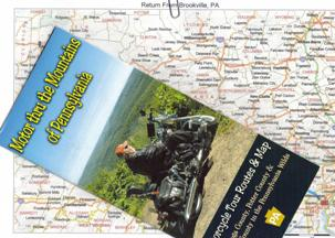 Map and brochure for motorcycling