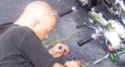 Installation of chrome kickstand extension from V-Twin