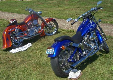 orange and blue custom bikes