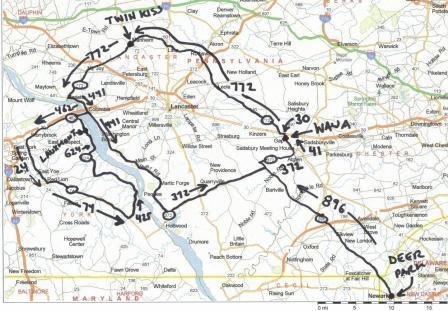 Amish Farms & Susquehanna River Ride - Motorcycle Route