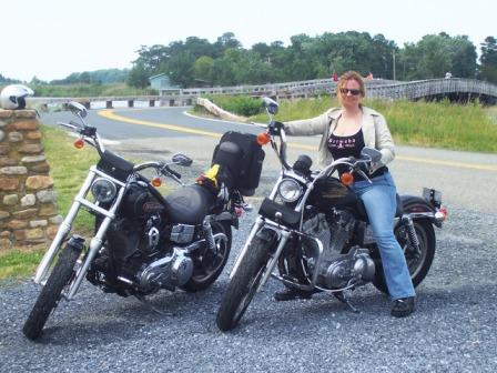 Diana rides her Sportster