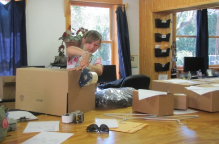 filling Internet orders at Fox Creek Leather