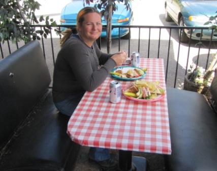 Diana eating at Wild Woodys