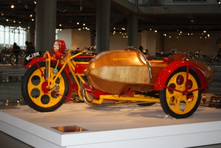 red and yellow with sidecar