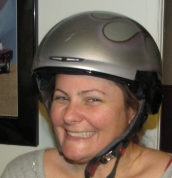 Happy girl has helmet