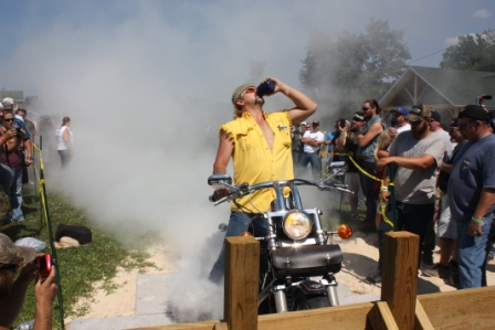 drink a beer and do a burnout
