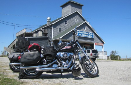 two harleys at the sandbar and grill in buxton, nc