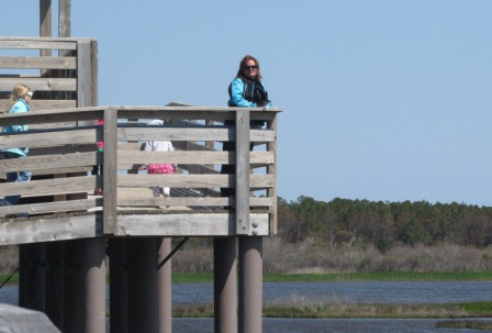 The Bodie island Swamp View deck with Diana