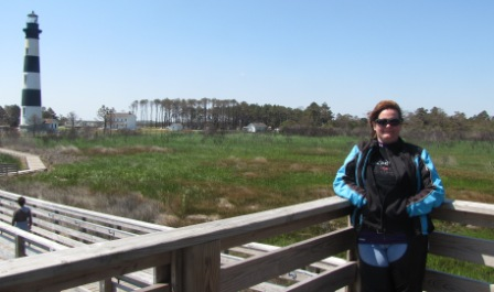 Diana in front of the Bodie island Lighthouse