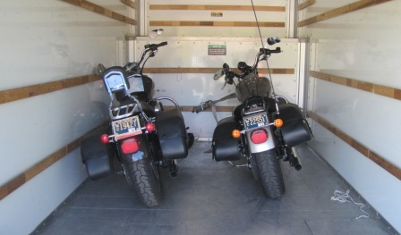 Two Dyna's loaded in the U-Haul