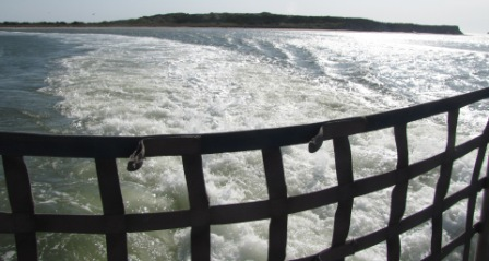 churning waters of the Ocracoke ferry