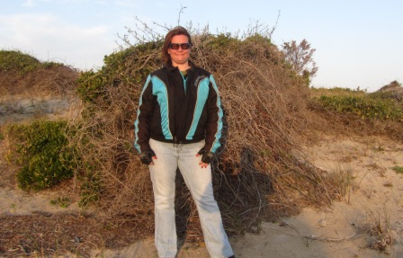 Diana in front of OBX bush